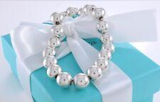 "Tiffany & Co. Silver Hardware 10mm Ball Beaded 7.5"" Bracelet w/ Box & Pouch"