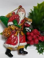Vintage Christmas Ornaments SHATTERPROOF SANTA CLAUS about 3 3/4""