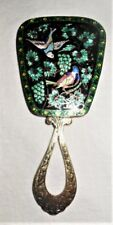 Antique Small Hand Mirror Pure Silver Enamel Cloisonne Birds Leaves & Grapes