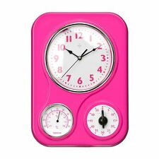 Pink Plastic Kitchen Wall Clock Rectangular With Timer & Temperature Display New