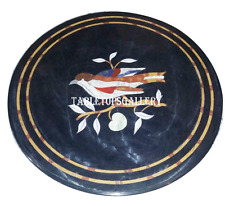 """24"""" Black Marble Round Coffee Table Top Marquetry Gem Inlay Furniture Decor H908"""