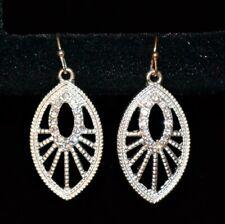 Avon Rhinestone Silver Tone Earrings Pierced Fish Hook Style Womens Jewelry New