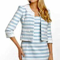 NWT Lilly Pulitzer Nelle Blue White Striped Boucle Tweed Blazer Jacket Size 0