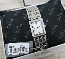 BULOVA Womens 96L157 Mother of Pearl Diamond Stainless Wristwatch Watch NEW!