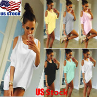 Womens Cut Out Cold Shoulder Loose T-Shirt Tops Women Short Sleeve Mini Dress US