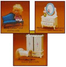 NIB Mattel Littles dollhouse furniture lot dresser crib armoire sofa Hedy doll