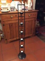 BLACK METAL FLOOR STANDING  TEA LIGHT TOWER