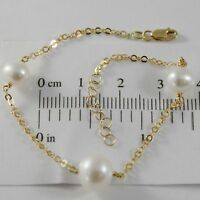 18K YELLOW GOLD BRACELET 7.5 INCHES WITH ROUND CHAIN & WHITE PEARL MADE IN ITALY