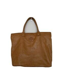 Tory Burch Leather Tote Shopper Bag Oversized XL Tan Brown Enamel Logo