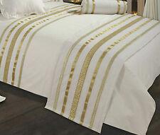 LUXURY GLAMOUR 100% EGYPTIAN COTTON CREAM & GOLD BED RUNNER 230 X 50 CMS