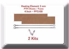 "2 Replacement Heating Element 3mm +2 PTFI Sheet For Impulse Sealer 8"" PFS200"