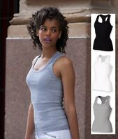 Womens Ladies GREY BLACK or WHITE Stretch Racer Back Vest Singlet Tank Top