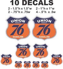 10 Union 76 Gasoline Shield Vinyl Decals