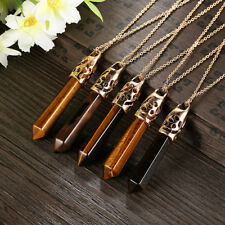 Wholesale 18K Gold Plated Natural Tiger Eye Crystal Pendant Necklace