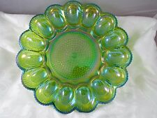 Indiana Iridescent Carnival Glass Green Relish Dish Plate Tray