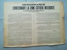 ii158 Affiche TBE 52x44cm WW2 1941 Feldkomandant interdiction zone côtière