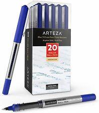 ARTEZA Roller Ball Pens, Blue, 0.5 mm Bullet Point - Pack of 20