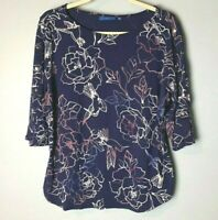 Apt. 9 Women's Top Size XL Studded 3/4 Sleeves Floral Birds Blue Pink White