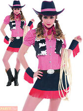 Ladies Rawhide Cowgirl Costume Adults Women Wild West Fancy Dress Cowboy Outfit