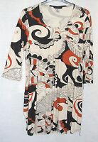 NEW Ulla Popken Beige Multi Print Plus Size Jersey Tunic Sizes UK 16/18 & 28/30