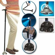 Black Magic Cane with Folding Cups LED Flashlight Lighting Crutches