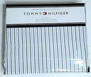 NEW Tommy Hilfiger FULL Sheet Set Summer Stripe 4  pc Navy/Light Blue/White