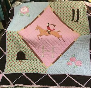 Land of Nod Equestrian Horse Quilt Comforter + Sham  - Twin