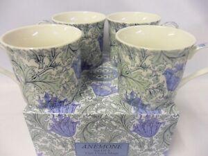 Set of 4 gift boxed William Morris anemone design fine china palace mugs