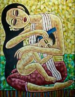 Balinese Mother & Baby Painting Acrylic on handmade Canvas Signed Wall art