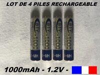 4 piles rechargeables AAA BTY Ni-MH 1000 mAh LR03 envoyées de France lot 4 piles