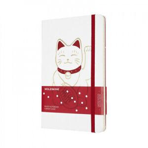 Moleskine Limited Edition Notebook Maneki Neko, Large, Ruled, White, Hard