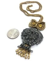 """Vintage Necklace 24"""" Owl Pendant Two Tone Gold Silver Articulated"""