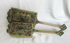 Old Empire Art Gold Gilt Ormolu Multi Color Encrusted Jeweled Mirror&Brush Set