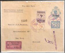 Suriname nr 102 in mengfr. op aangetekende brief 1e vlucht naar Nederland