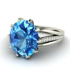 Real Diamond Oval Cut 3.20 Ct Blue Topaz Gemstone Ring 14K White Gold Size N O P