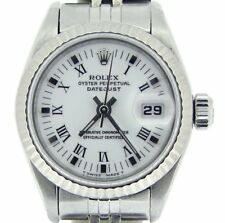 Rolex Datejust Lady Stainless Steel Watch 18K White Gold White Black Roman 69174