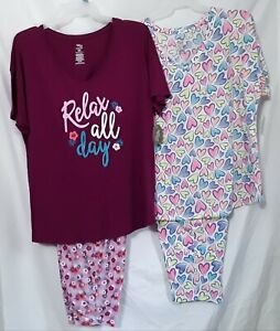 LADIES RELAX ALL DAY OR COLORFUL HEARTS NWT 2PC PAJAMA SETS,  LARGE, XL, 2X, 3X