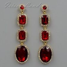 Gold Plated GP Red Crystal Rhinestone Chandelier Drop Dangle Earrings 08565 New