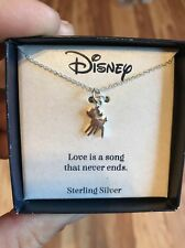 """New Disney Sterling Silver Bambi Necklace 18"""" Chain"""