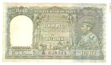 My world collection>India KGVl 1946 10 rupees paper banknote -Very high grade !