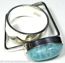 Handcrafted Top Quality AAA Dominican Larimar 925 Sterling Silver Ring size 9