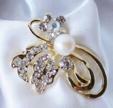 NEW Vintage Freshwater Pearl .925 Silver Plated Bouquet Brooch Pin Gift Box