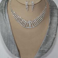 Juego de joyas collar pendiente cristal strass Novia Colgante Cadena Plata 83