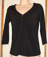 FASHION BUG  Black Knit Top,Shirred Bodice w Sequin Trim,3/4 Sleeves Sz.S