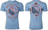 AMERICAN FIGHTER Men T-Shirt GARDNER Athletic BLUE Biker Gym MMA $40