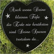 Gedenkstein Grabschmuck Grabherz Sternenkind Marmor deine kleinen Füsse 12,5 cm