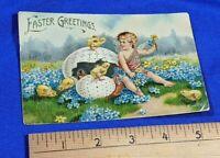 1900s German Rare Postcard Cupid Angel Chicks Egg Flowers Easter Greetings VTG