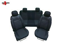 For Skoda PU Leather Elements Fabric Black Seat Covers Horizontal Stitching