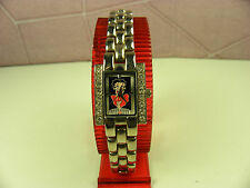2002 WHIMSICAL  BETTY BOOP RECTANGLE VALDAWN WATCH W/SILVER TONE LINK BAND