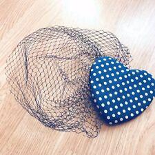 Fascinator de la Corazón Azul Manchado-Accesorio Para El Cabello-Pin Up-Negro Velo-Boda
